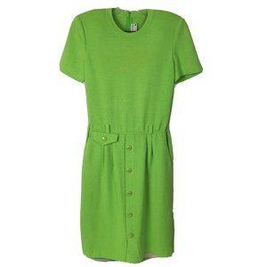 Vintage St. John Dress 1980s Santana Knit SS Lime